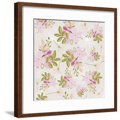 Pink Floral Pattern-Tina Lavoie-Framed Giclee Print