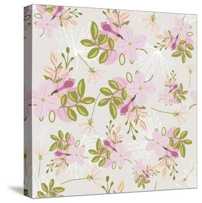Pink Floral Pattern-Tina Lavoie-Stretched Canvas Print
