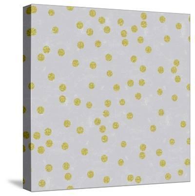Grey Linen Golden Round Confetti-Tina Lavoie-Stretched Canvas Print
