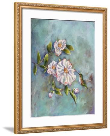 Hummingbird with Camellias-Sarah Davis-Framed Giclee Print