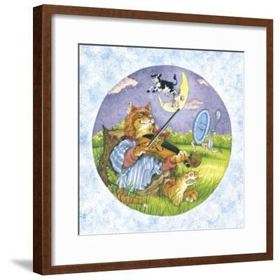 Cat Fiddle Cow Jumping over Moon Plate Running Away with a Spoon-Wendy Edelson-Framed Giclee Print