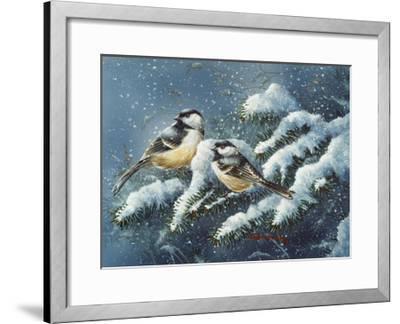 December Chickadees-Wanda Mumm-Framed Giclee Print