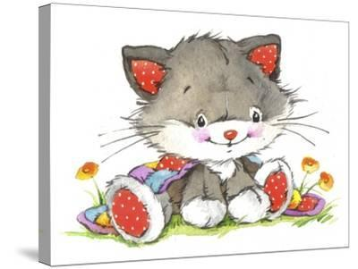 Kitten in the flowers-ZPR Int'L-Stretched Canvas Print