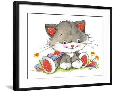 Kitten in the flowers-ZPR Int'L-Framed Giclee Print