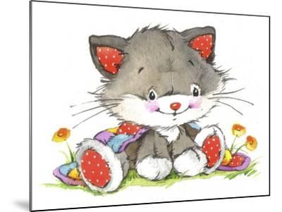 Kitten in the flowers-ZPR Int'L-Mounted Giclee Print