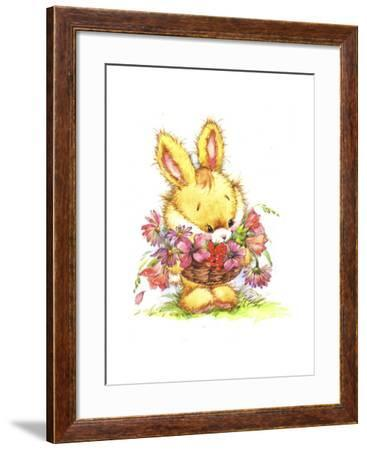 decortive ester ccents easter rabbit decor bunny.htm bunny rabbit with basket of flowers giclee print by zpr int l  giclee print by zpr int l