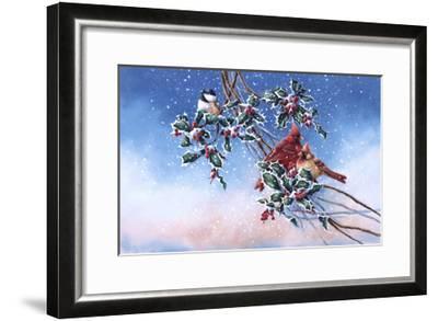 Cardinals and Chickadee-Wanda Mumm-Framed Giclee Print