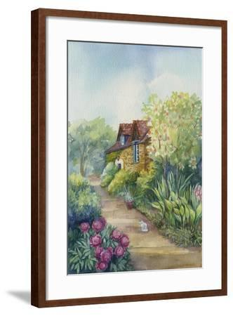 Cottage on a Dirt Road, Peonies in the Garden-ZPR Int'L-Framed Giclee Print