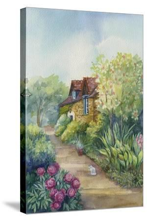 Cottage on a Dirt Road, Peonies in the Garden-ZPR Int'L-Stretched Canvas Print