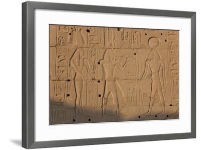Temple Relief and Hieroglyphics, Karnak, Luxor, Egypt-Peter Adams-Framed Photographic Print
