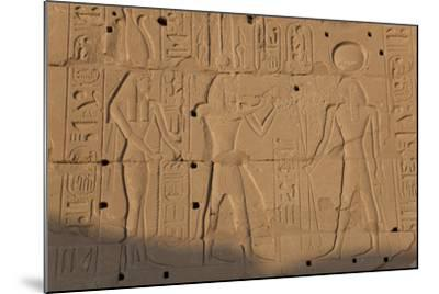Temple Relief and Hieroglyphics, Karnak, Luxor, Egypt-Peter Adams-Mounted Photographic Print