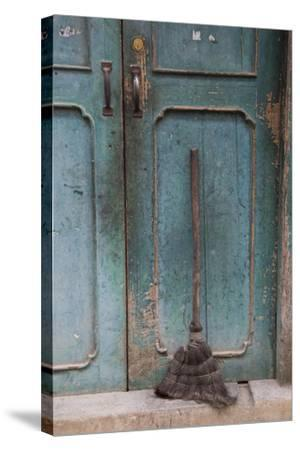 Old Town of Xingping Along the Li River, Doorway and Broom-Darrell Gulin-Stretched Canvas Print