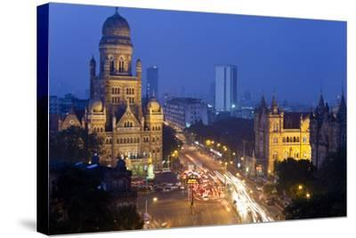 View over Victoria Terminus and Central Mumbai at Dusk, Mumbai, India-Peter Adams-Stretched Canvas Print