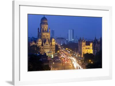 View over Victoria Terminus and Central Mumbai at Dusk, Mumbai, India-Peter Adams-Framed Photographic Print