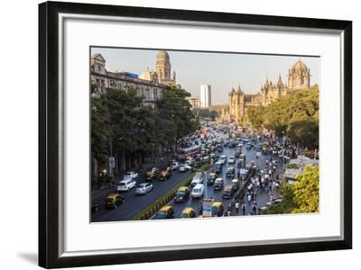 Chhatrapati Shivaji Terminus Train Station and Central Mumbai, India-Peter Adams-Framed Photographic Print