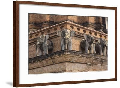 Thailand, Chiang Mai, Wat Chedi Luang. Elephant Statues-Emily Wilson-Framed Photographic Print
