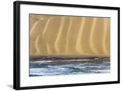 Namibia. Aerial of Namibian Sand Dunes Meeting the Atlantic Ocean-Janet Muir-Framed Photographic Print