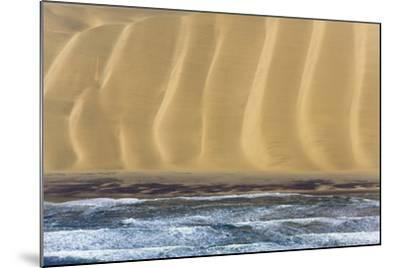 Namibia. Aerial of Namibian Sand Dunes Meeting the Atlantic Ocean-Janet Muir-Mounted Photographic Print