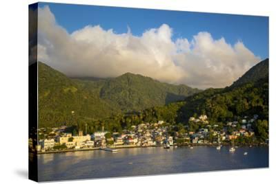 Sunset over the Hills Surrounding Soufriere, St. Lucia, West Indies-Brian Jannsen-Stretched Canvas Print