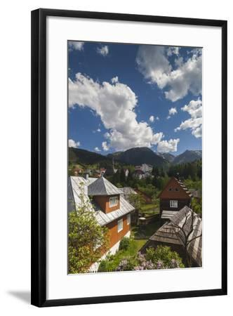 Romania, Maramures, Statiunea Borsa, Ski Resort, Spring, Village View-Walter Bibikow-Framed Photographic Print