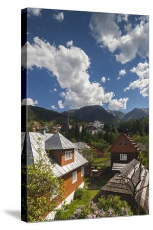 Romania, Maramures, Statiunea Borsa, Ski Resort, Spring, Village View-Walter Bibikow-Stretched Canvas Print