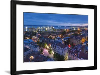 Bulgaria, Black Sea Coast, Burgas, Elevated City View. Dusk-Walter Bibikow-Framed Photographic Print
