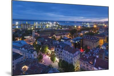 Bulgaria, Black Sea Coast, Burgas, Elevated City View. Dusk-Walter Bibikow-Mounted Photographic Print