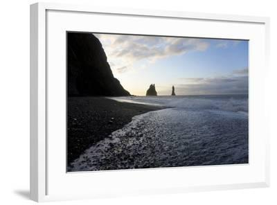 Reynisdrangar Rock Formations and Black Beach, Vik, Iceland-Peter Adams-Framed Photographic Print