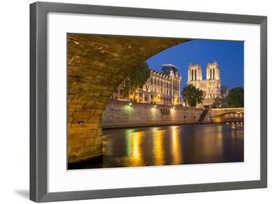 Twilight, Cathedral Notre Dame and River Seine, Paris, France-Brian Jannsen-Framed Photographic Print