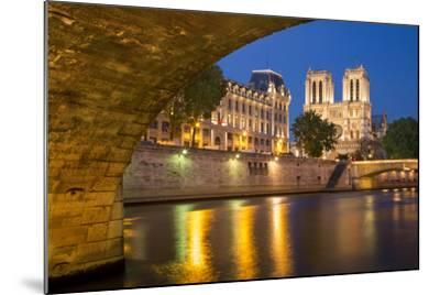 Twilight, Cathedral Notre Dame and River Seine, Paris, France-Brian Jannsen-Mounted Photographic Print