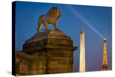 Lion, Obelisk, and Eiffle Tower at Place de La Concorde, Paris, France-Brian Jannsen-Stretched Canvas Print