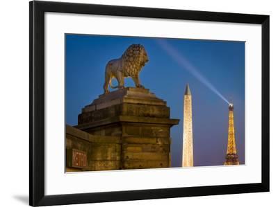 Lion, Obelisk, and Eiffle Tower at Place de La Concorde, Paris, France-Brian Jannsen-Framed Photographic Print