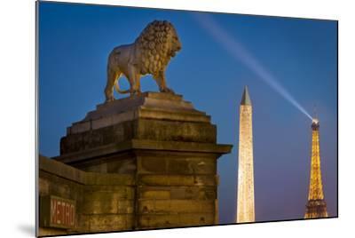 Lion, Obelisk, and Eiffle Tower at Place de La Concorde, Paris, France-Brian Jannsen-Mounted Photographic Print