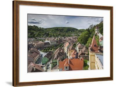 Romania, Transylvania, Sighisoara, Elevated City View from Clock Tower-Walter Bibikow-Framed Photographic Print