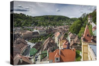 Romania, Transylvania, Sighisoara, Elevated City View from Clock Tower-Walter Bibikow-Stretched Canvas Print