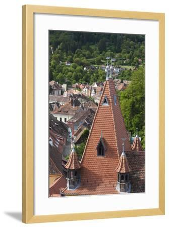 Romania, Transylvania, Sighisoara, Elevated City View from Clock Tower-Walter Bibikow-Framed Photographic Print