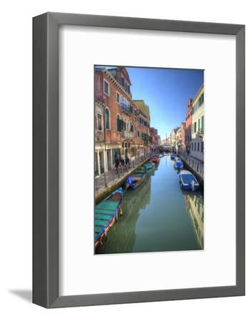 Work Boats Along Canals of Venice, Italy-Darrell Gulin-Framed Photographic Print