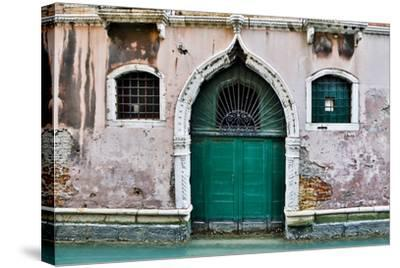 Green Doorway Along Canal, Venice, Italy-Darrell Gulin-Stretched Canvas Print