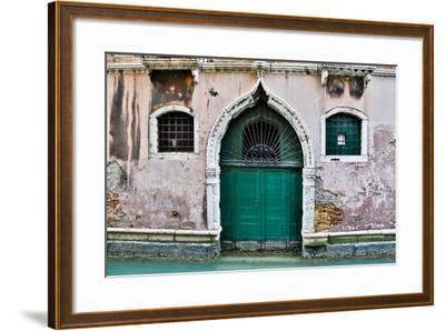 Green Doorway Along Canal, Venice, Italy-Darrell Gulin-Framed Photographic Print