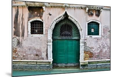 Green Doorway Along Canal, Venice, Italy-Darrell Gulin-Mounted Photographic Print