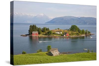 Small Island in Hardangerfjorden Nr Bergen, Western Fjords, Norway-Peter Adams-Stretched Canvas Print