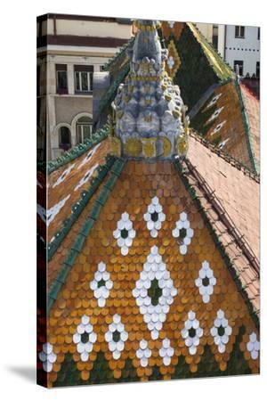 Romania, Transylvania, Targu Mures, the County Council Building Roof-Walter Bibikow-Stretched Canvas Print