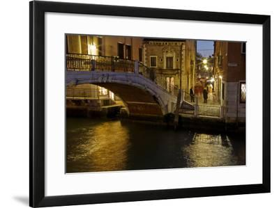 Europe, Italy, Venice, Night Canal-John Ford-Framed Photographic Print