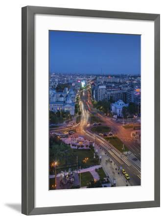 Romania, Bucharest, Piata Universitatii, Coltea Hospital at Dusk-Walter Bibikow-Framed Photographic Print