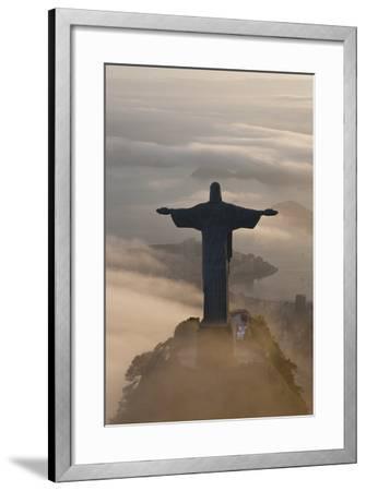 Art Deco Statue of Jesus, Corcovado Mountain, Rio de Janeiro, Brazil-Peter Adams-Framed Photographic Print