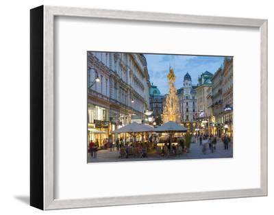 The Plague Column, Graben Street at Night, Vienna, Austria-Peter Adams-Framed Photographic Print