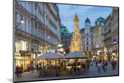 The Plague Column, Graben Street at Night, Vienna, Austria-Peter Adams-Mounted Photographic Print