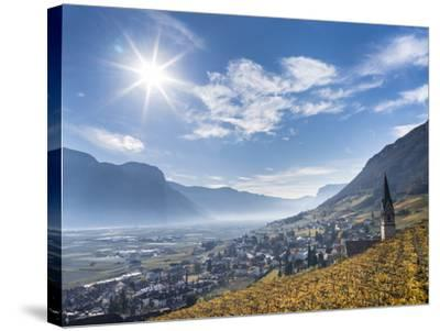 Vineyards and the Valley of the River Etsch. South Tyrol, Italy-Martin Zwick-Stretched Canvas Print