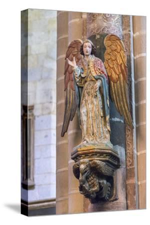 Portugal, Evora, Cathedral of Evora, Angel Statue-Jim Engelbrecht-Stretched Canvas Print