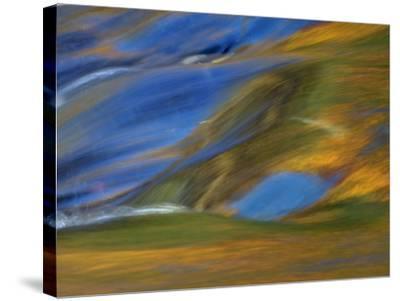 Michigan. Trees Reflect in Cascade Above Bond Falls, Ontonagon River-Julie Eggers-Stretched Canvas Print